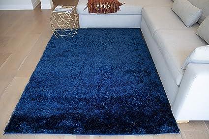 Amazon Com La Shag Shaggy 5x7 Feet Cozy Navy Blue Electro Blue Dark