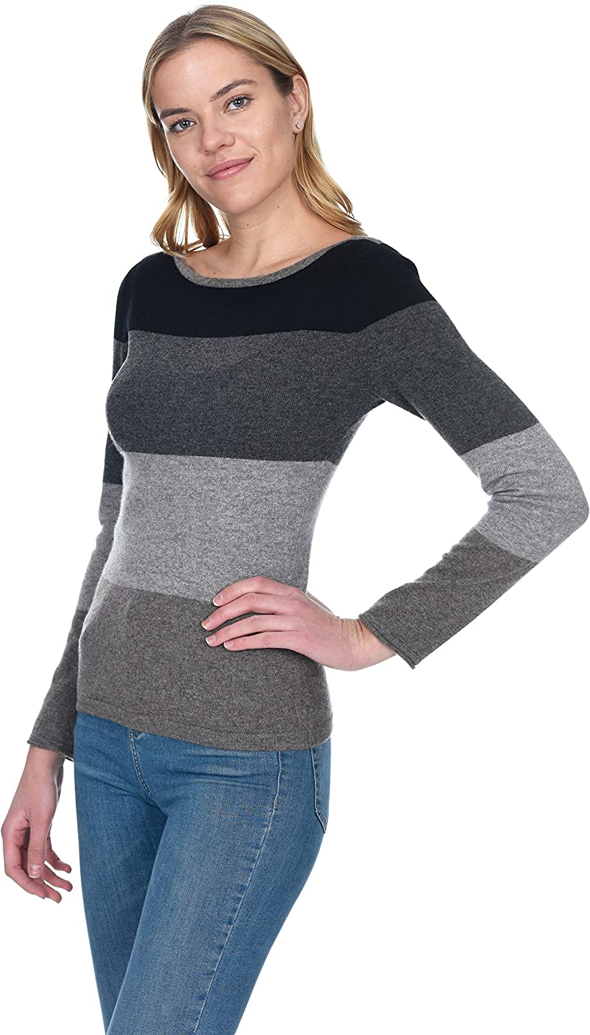 State Cashmere Womens Boatneck Bold Stripes Pullover 100/% Pure Cashmere Color Block Wide Neck Sweater
