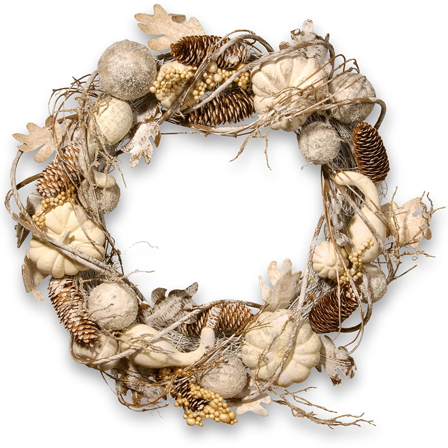 20 Inch White Tipped Pinecone Wreath with Gourds, Berries and Ball Ornaments