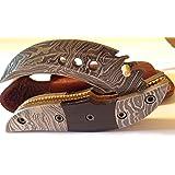 Dragon Slayer Folding Knife Damascus Steel Blade Horn Handle