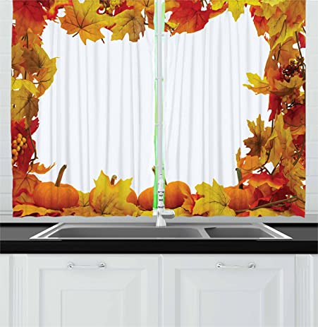 Thanksgiving Kitchen Curtains By Lunarable, Dry Autumn Leaves And Ripe  Pumpkins Seasonal Frame On White