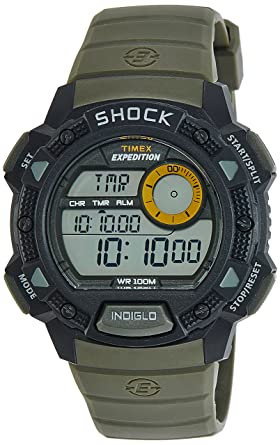 101bfaaaef0a Amazon.com  Timex Men s T49975 Expedition Base Shock Black Green ...