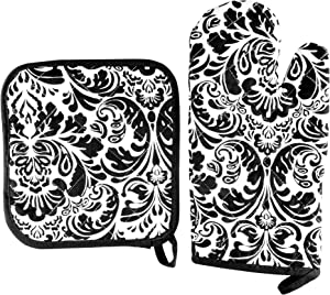 Oven Mitt And Pot Holder Set, Quilted And Flame And Heat Resistant By Lavish Home (Black)