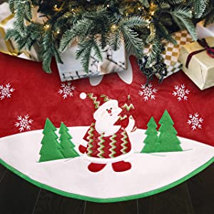 Christmas Tree Skirt, Merry Christmas Decorations Red Small Xmas Tree Collar Christmas Party Decor,Snowflake Creative Red Christmas Tree Decor for Farmhouse Fireplace Holiday Party, 35 inch