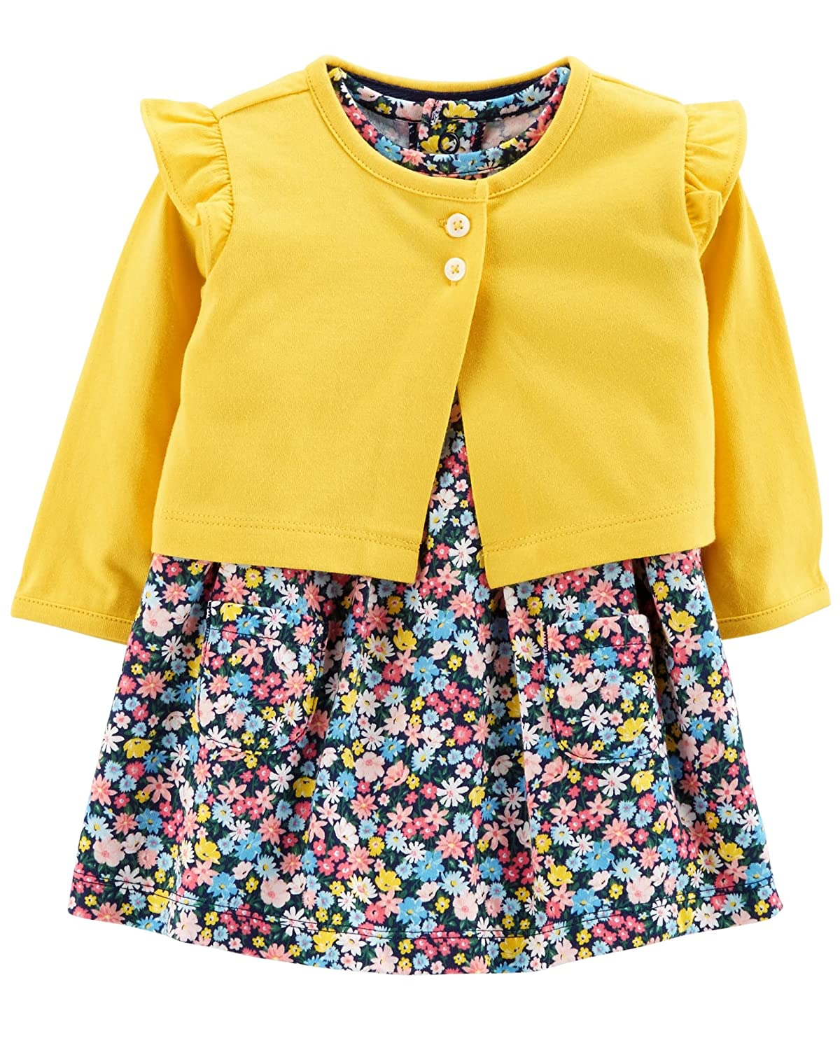 Carter's Baby Girls 2 Piece Bodysuit Dress and Cardigan Sweater Set