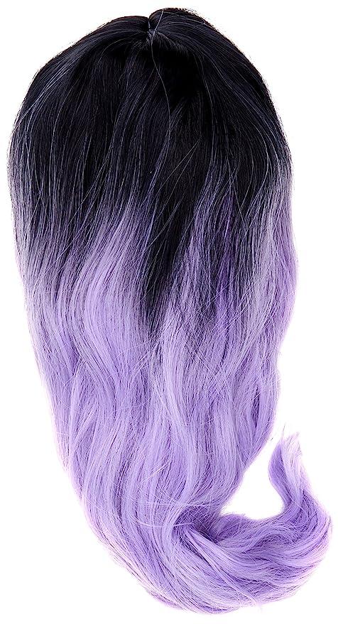 Amback mediano longitud Dye raíces oscuro cosplay peluca de Halloween para mujer peluca de pelo rizado