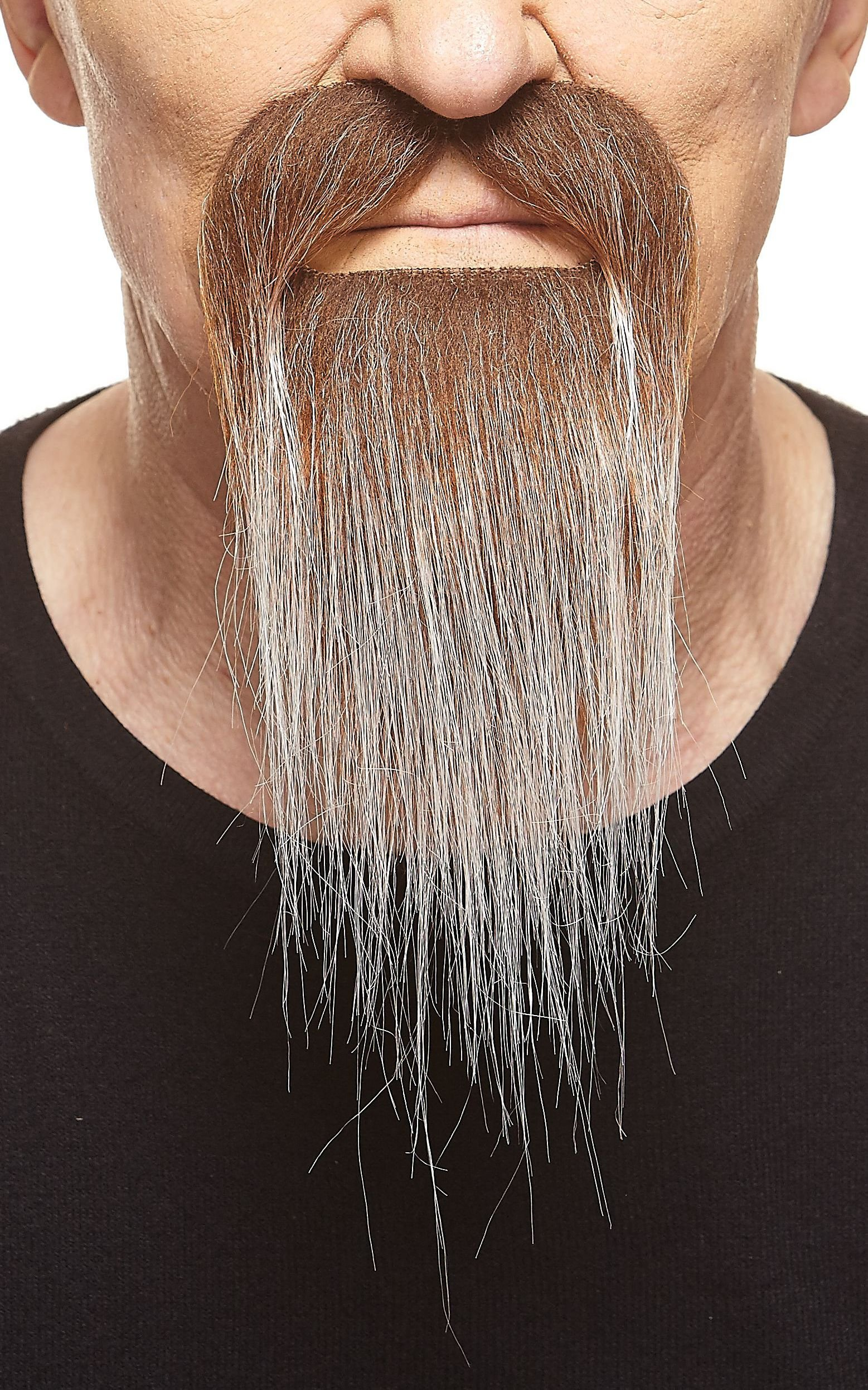 Mustaches Self Adhesive, Novelty, Fake Ducktail Beard, Brown with Gray Color