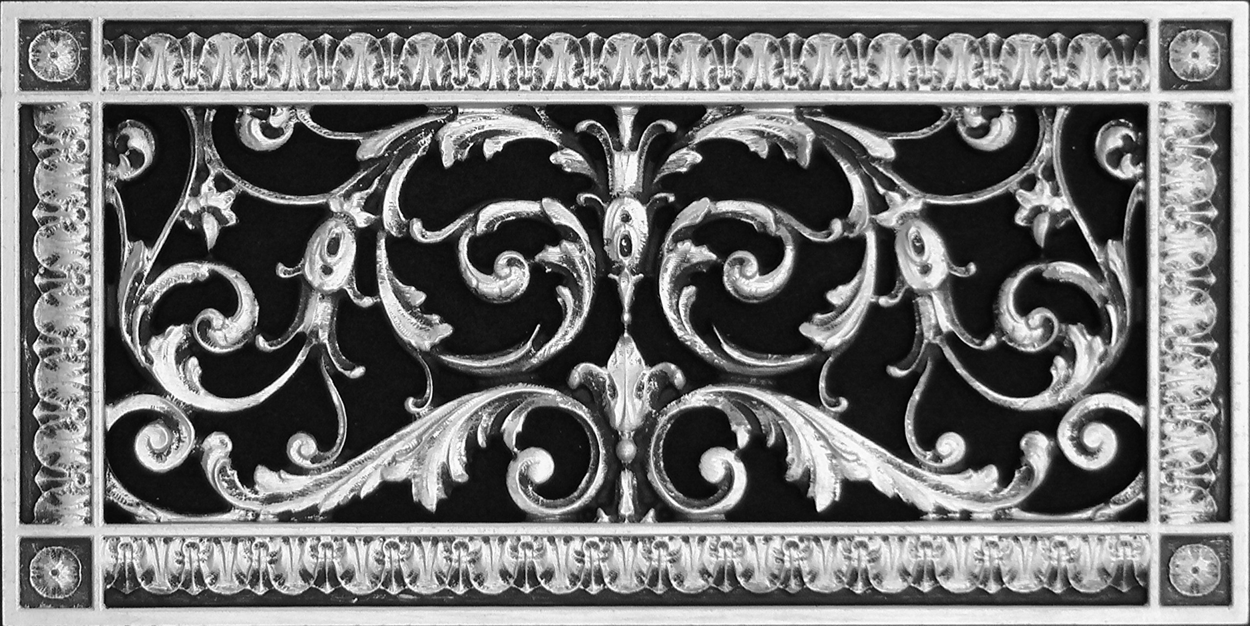 "Decorative Vent Cover, Grille, made of Urethane Resin in Louis XIV, French style fits over a 6"" x 14"", Total size, 8"" by 16"", for wall & ceiling installation only. (not for floors) (Nickel)"