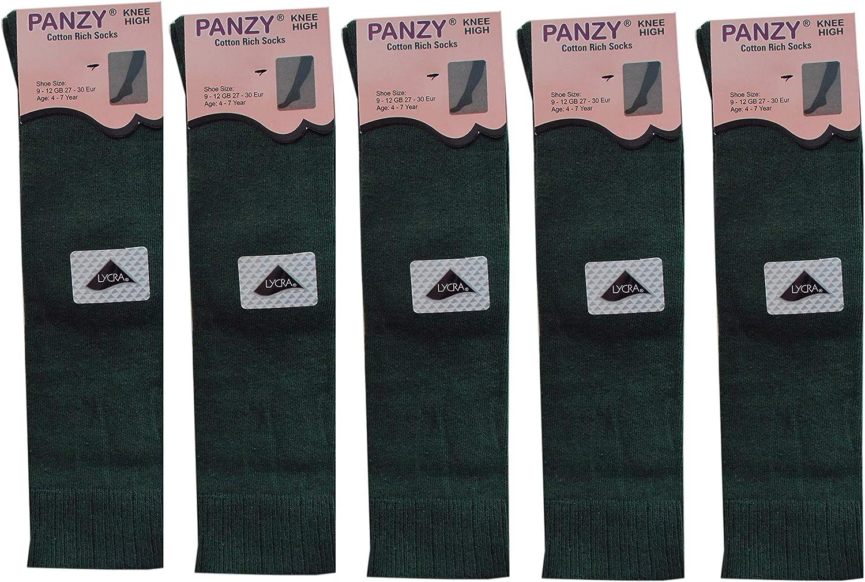 5 Pairs Children//Kids Girls Knee High Plain School Cotton Rich Socks