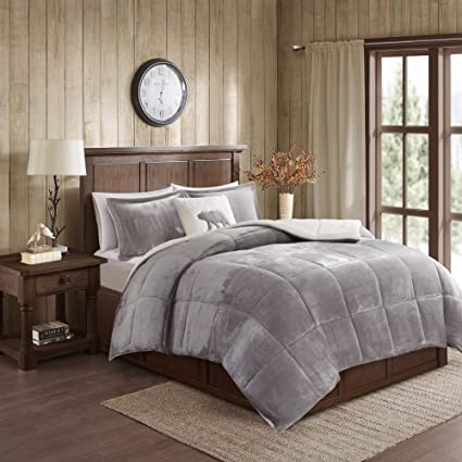 Amazon Com Woolrich Alton Twin Size Bed Comforter Set Grey Ivory