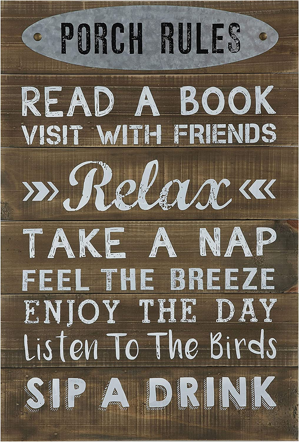 Creative Co-op Pine Wood Wall Decor Porch Rules Sign
