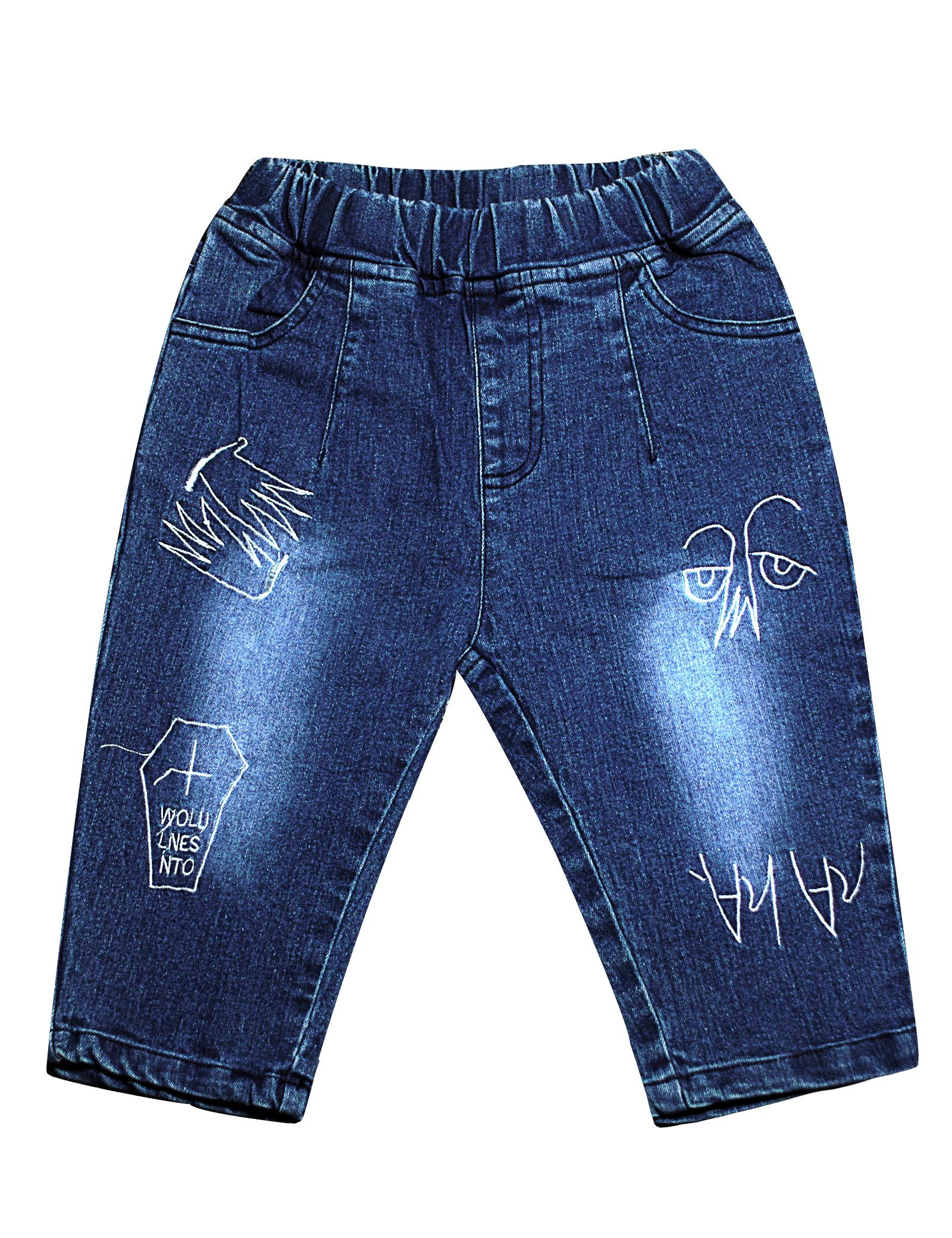 lorpops Boys' Summer Embroidered Stretchy Jean Capri Pants (Blue, 10)