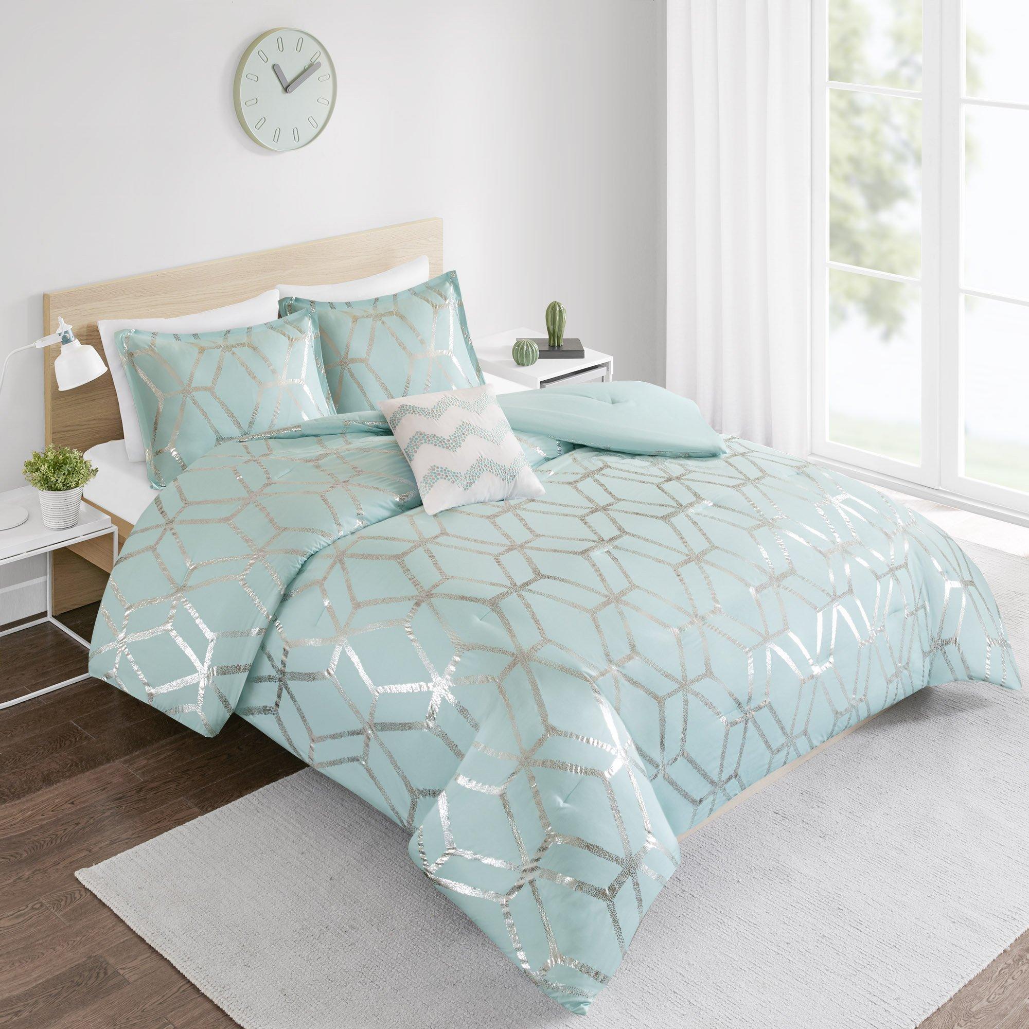 Details About Comforter Set Twin Bedding Set Vivian 3 Piece Aqua Bluesilver Geometric