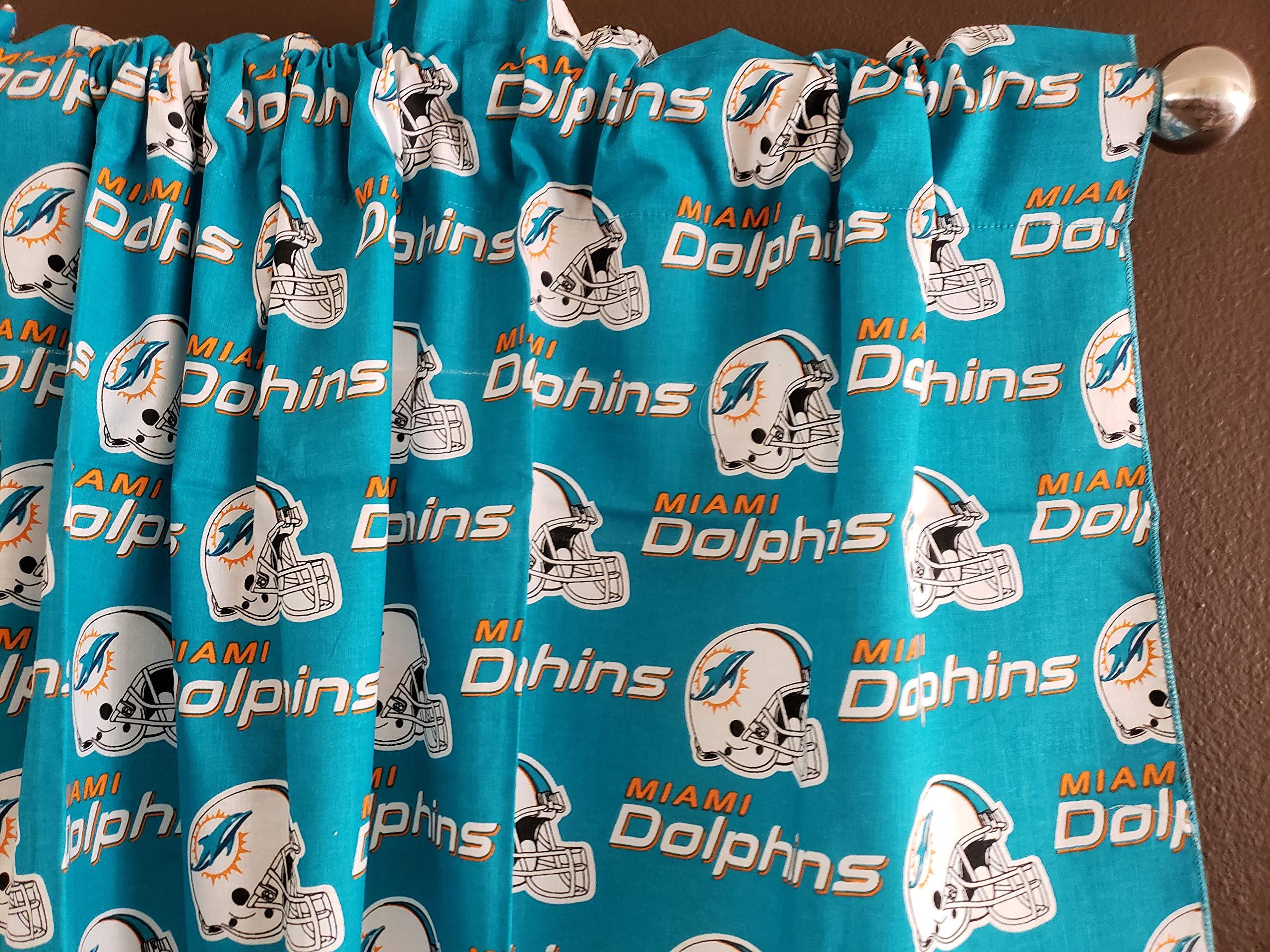 Zen Creative Designs 100% Cotton NFL Sports Team Miami Dolphins Multi-Print Window Valance Panel/Kids Nursery Window Treatment Decor (16'' Tall) by Zen Creative Designs