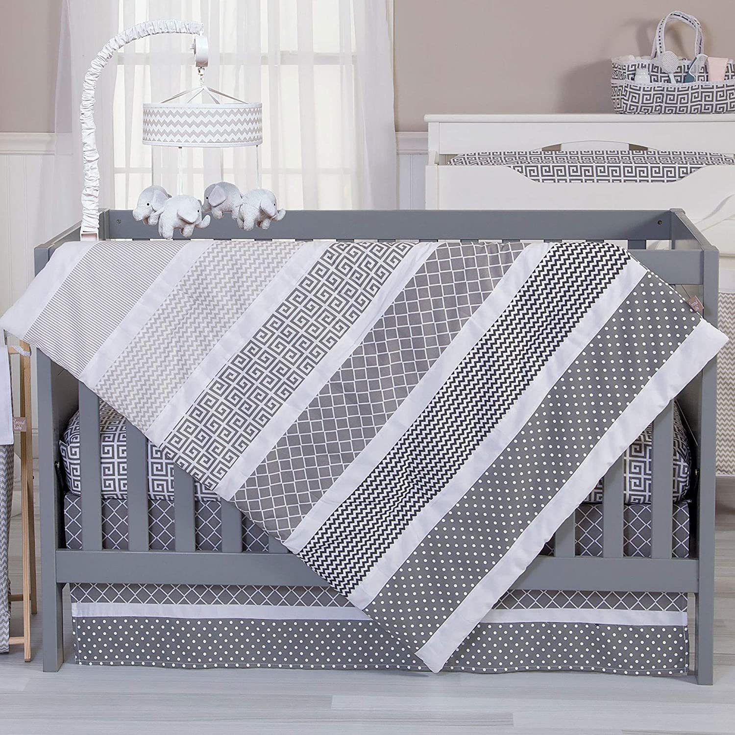 Trend Lab Ombre Gray Baby Nursery Crib Bedding CHOOSE FROM 3 4 5 6 7 Piece Set