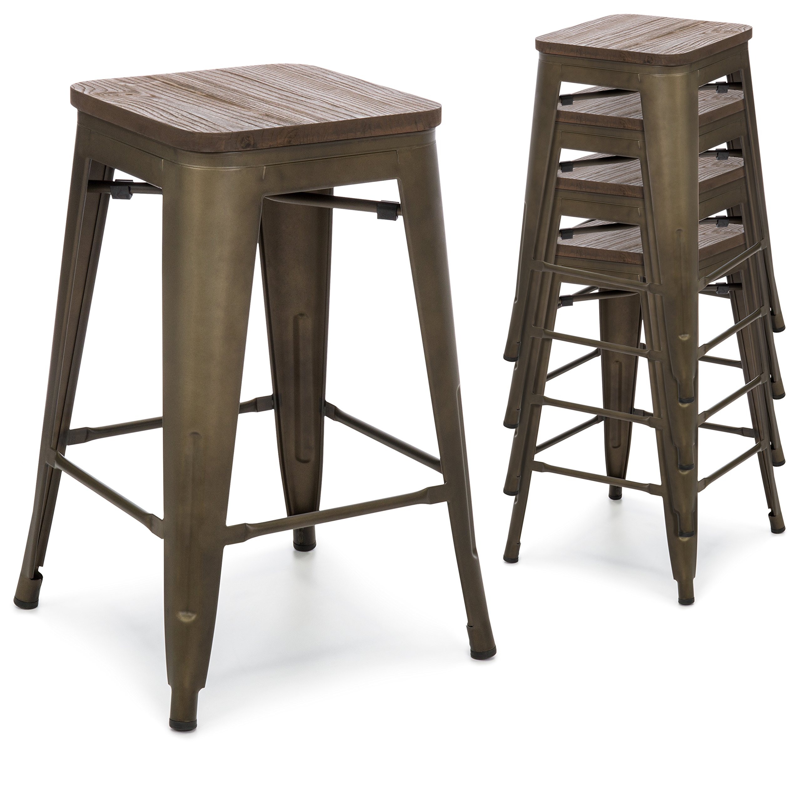Best Choice Products 24in Set of 4 Stackable Industrial Distressed Metal Counter Height Bar Stools w/Wood Seat - Copper by Best Choice Products (Image #1)