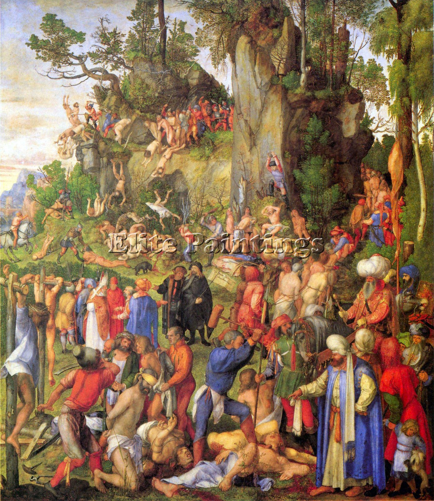 MARTYRDOM TEN THOUSAND CHRISTIANS DURER ARTIST PAINTING OIL CANVAS REPRO ART 48x40inch MUSEUM QUALITY by Elite-Paintings