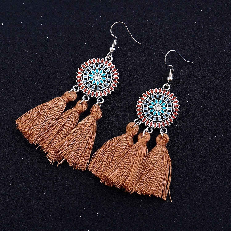 SICHENDZ Bohomia Sun FlowerTassel Earring for Women Girls Handmade Tassel Dangle Drop Wool Earrings
