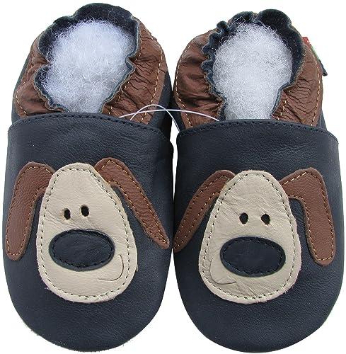 Amazon.com: Carozoo Zapatillas de piel con suela suave para ...