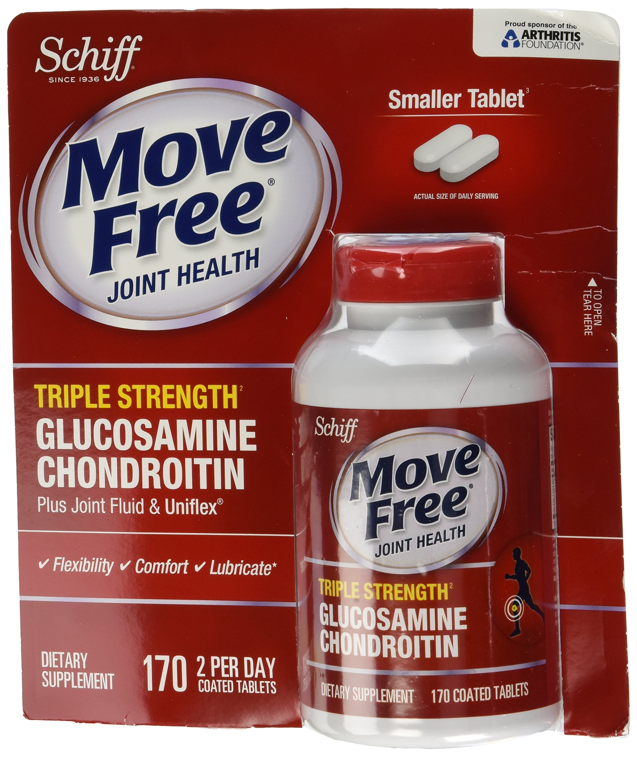 Schiff Move Free Joint Health Triple Strength Glucosamine Chondroitin - 4 Bottles, 170 Tablets Each