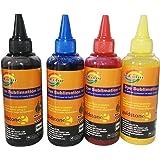 GoColor Premium High Quality Inket Sublimation Ink for 100 Ml 4 Color Ink Bottle with 4 Syringe, 4needle, 2 Gloves & 2 Napkin