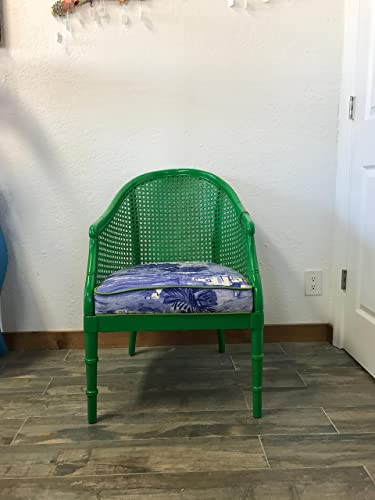 Mid Century Cane Back Barrel Style Chair | Green Accent Chair, Ralph Lauren  Home Coastal