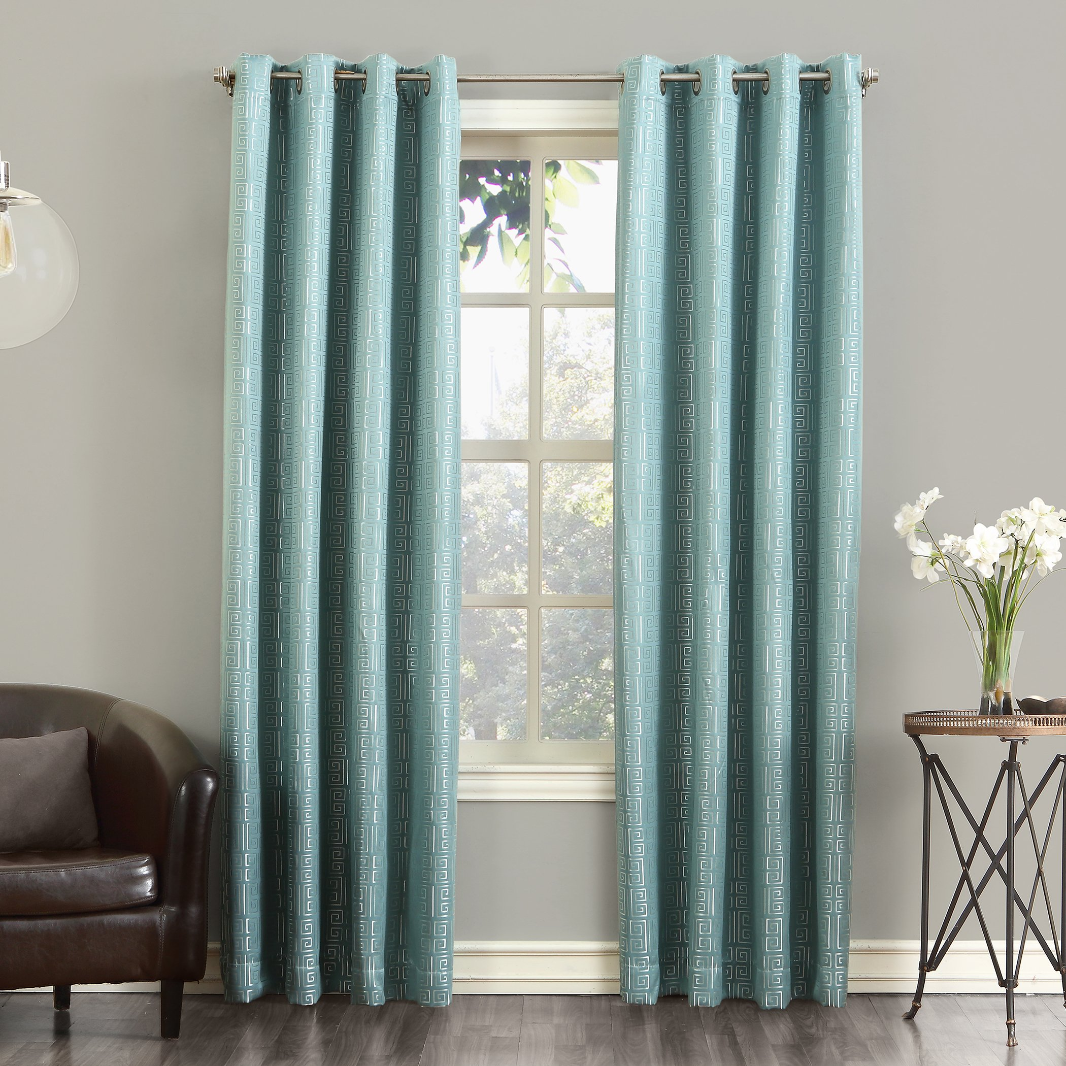 Sun Zero Theodore Blackout Lined Single Curtain Panel, 52'' x 63'', Spa Blue
