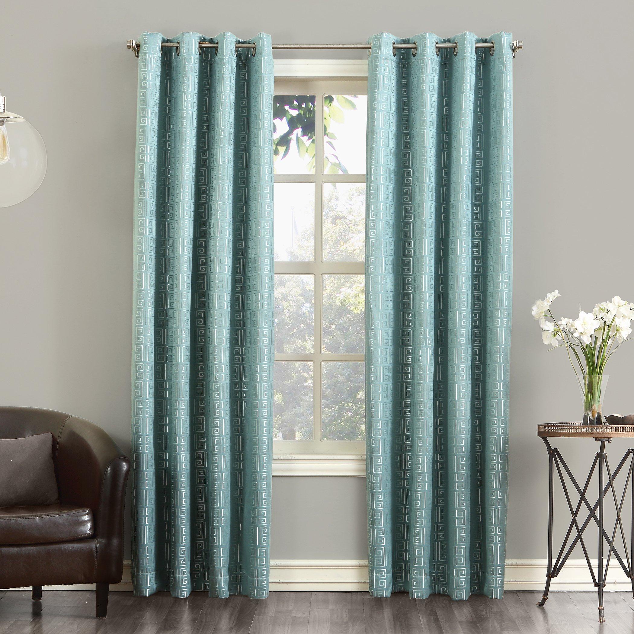 Sun Zero Theodore Blackout Lined Single Curtain Panel, 52'' x 63'', Spa Blue