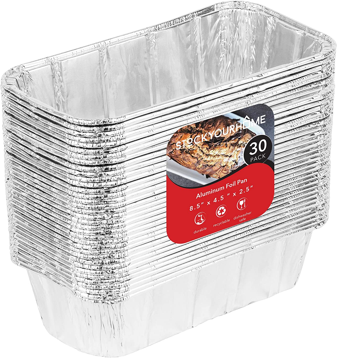 Aluminum Pans Bread Loaf Pans (30 Pack) 8x4 Aluminum Loaf Pan - 2 Lb Bread Tins, Standard Size, Compatible with Roadpro 12 Volt Portable Stove - Perfect for Baking Cakes, Bread, Meatloaf, Lasagna