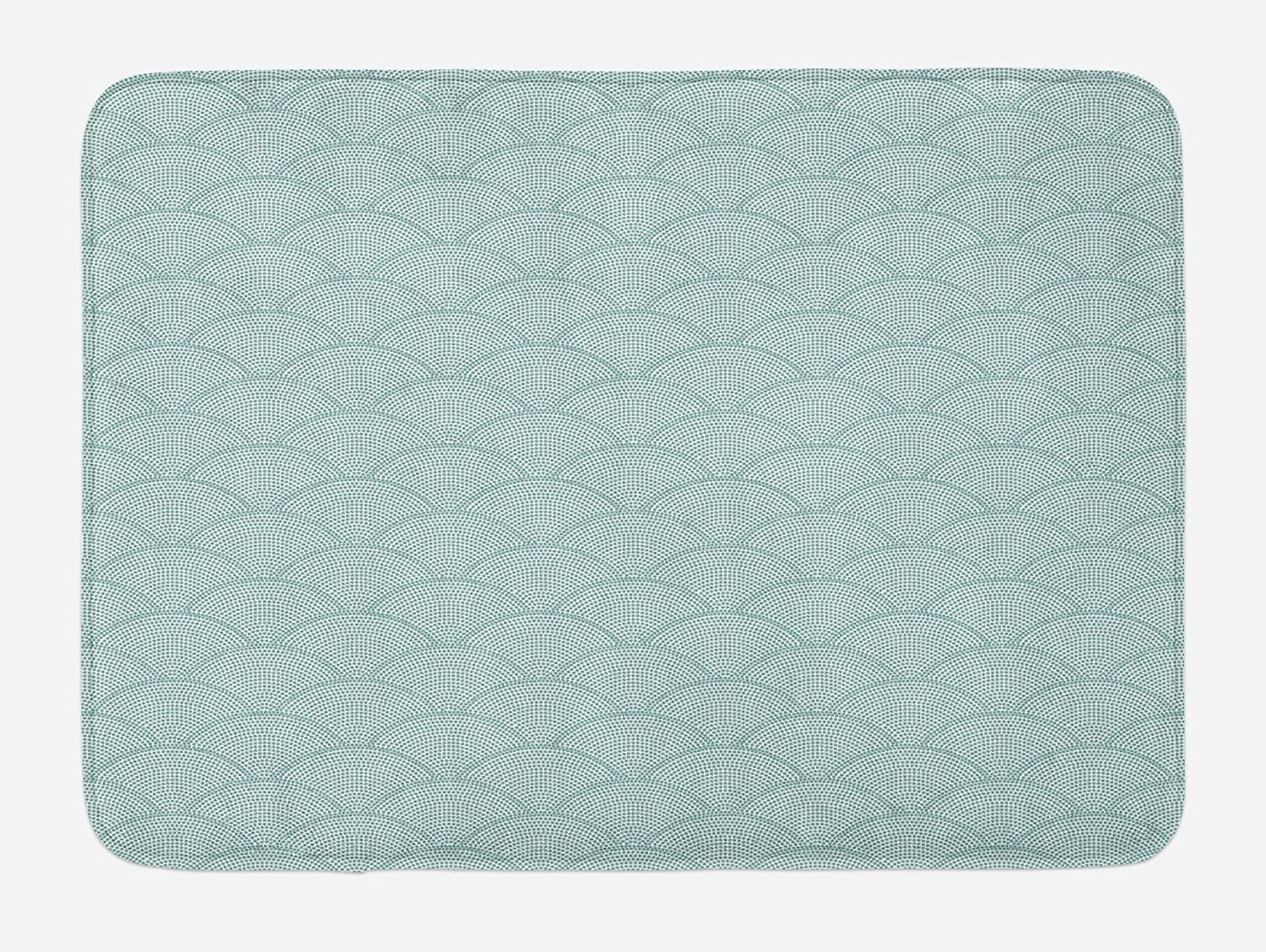 "Ambesonne Geometric Bath Mat, Fish Scale Pattern Half Circles Dots Geometric Arrangement Circular Motifs, Plush Bathroom Decor Mat with Non Slip Backing, 29.5"" X 17.5"", Seafoam White"