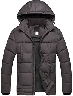 173e9bbf241 Wantdo Men s Puffer Coat Insulated Windproof Quilted Jacket with Fixed Hood