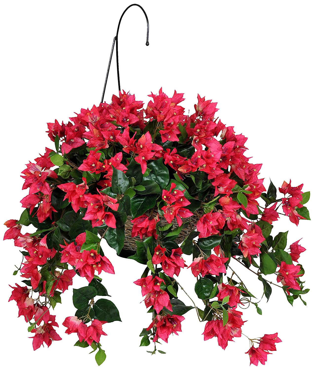House of Silk Flowers Artificial  Red Hanging Basket