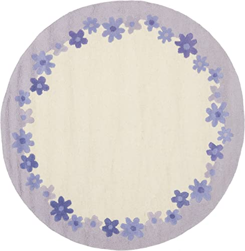 Safavieh Safavieh Kids Collection SFK357A Handmade Ivory and Lavender Cotton Round Area Rug 6 Diameter