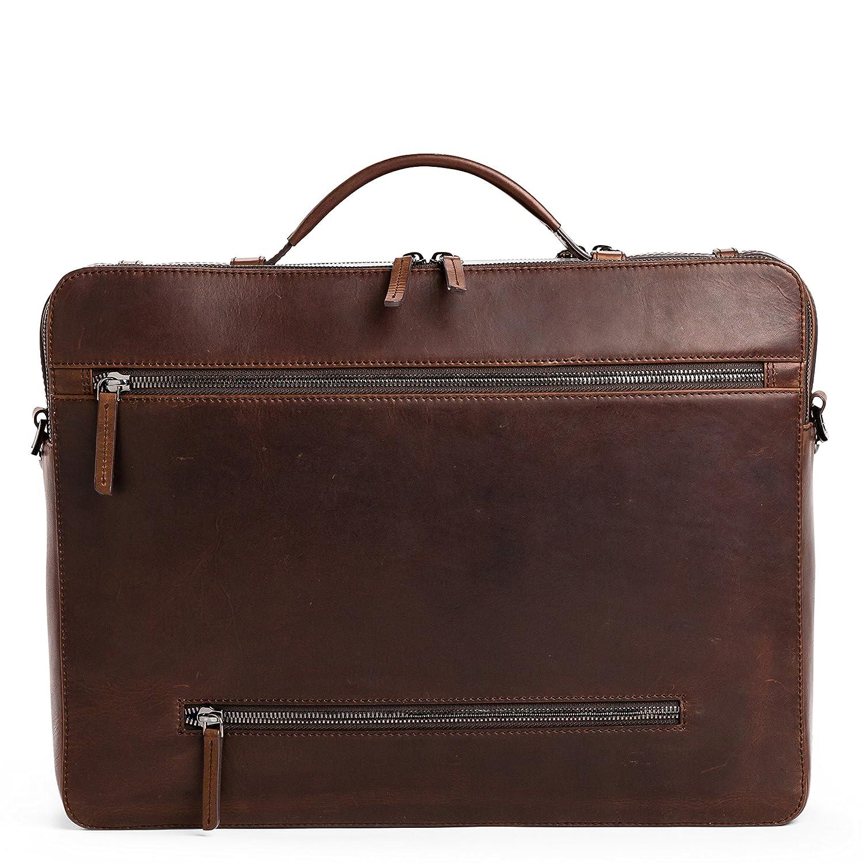 3ac255ed3ed05 OFFERMANN Ledertasche Businesstasche Workbag L als Aktentasche und  Umhängetasche dunkelbraun  Amazon.de  Bürobedarf   Schreibwaren