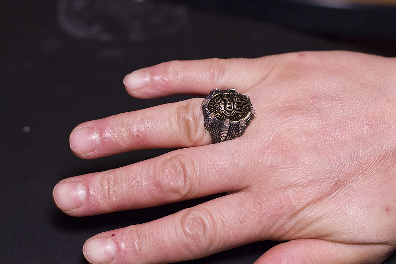 Falcon Jewelry Headed Eagle, 925 Sterling Silver oxide, Men\'s Ring ...