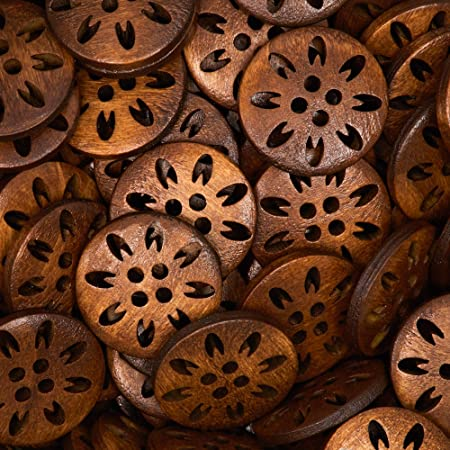 Floral Carved Wood Buttons for Crafts (4 Holes, 100-Pack)