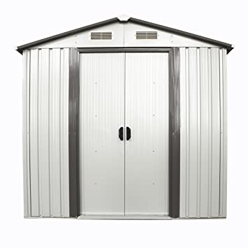 walcut 6ft x 4ft outdoor steel garden shed utility tool storage backyard lawn building garage