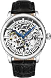 """Stuhrling Original Mens""""Specialty Winchester"""" Skeleton Automatic Self Winding Dress Watch with Premium Leather Band (Silver)"""