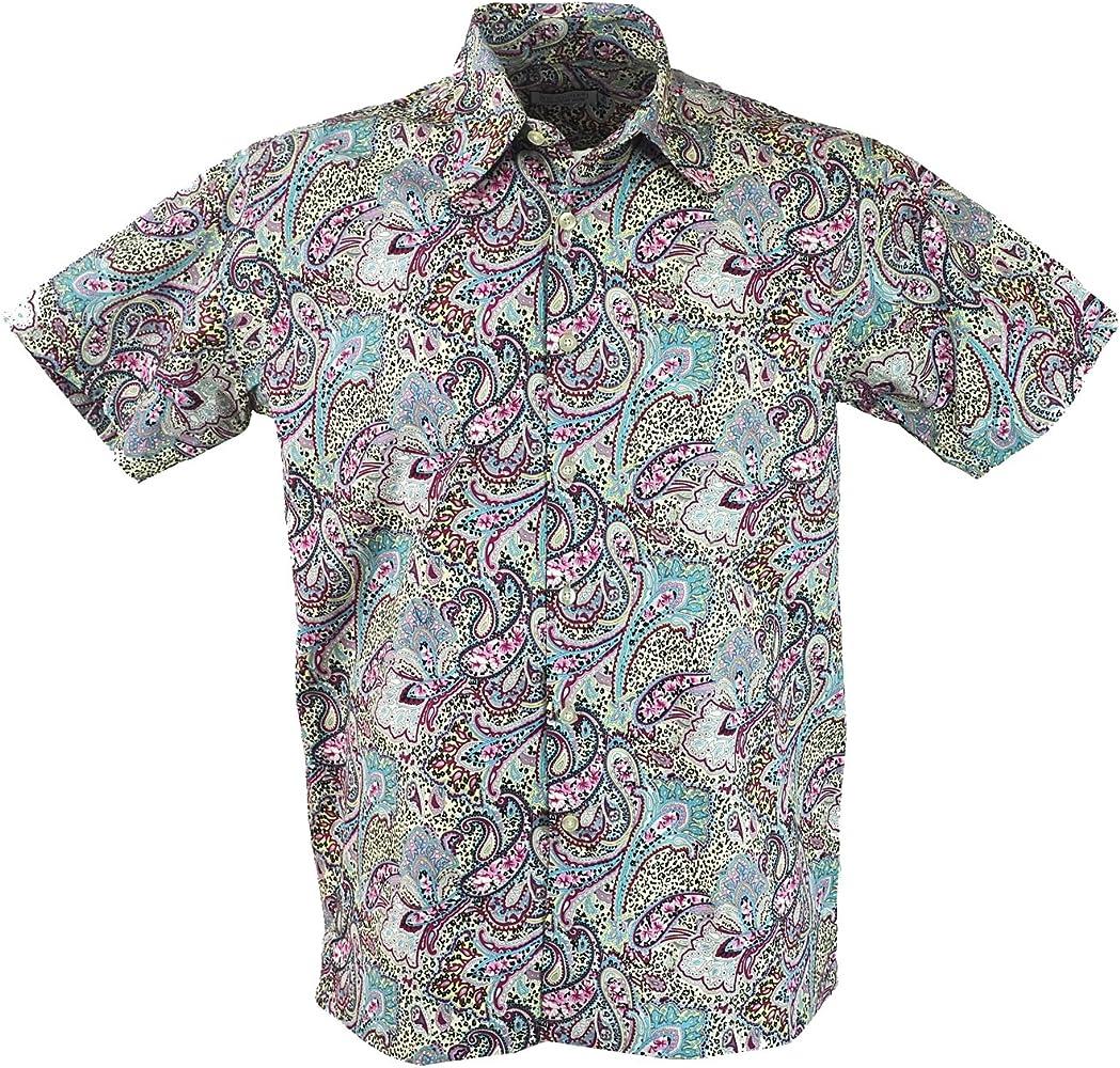 GURU-SHOP, Camisa Hawai, Camisa Hippie, Camisa, Paisley Azul/Gris, Algodón, Tamaño:S, Camisas de Hombre: Amazon.es: Ropa y accesorios