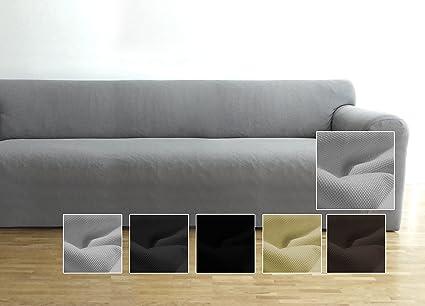 Ambivelle Funda de sofá, Funda Ajustable bielástica, Forro de sofá, Apta para Muchos sofás Normales de 3 plazas (de 180cm – 240cm), Gris