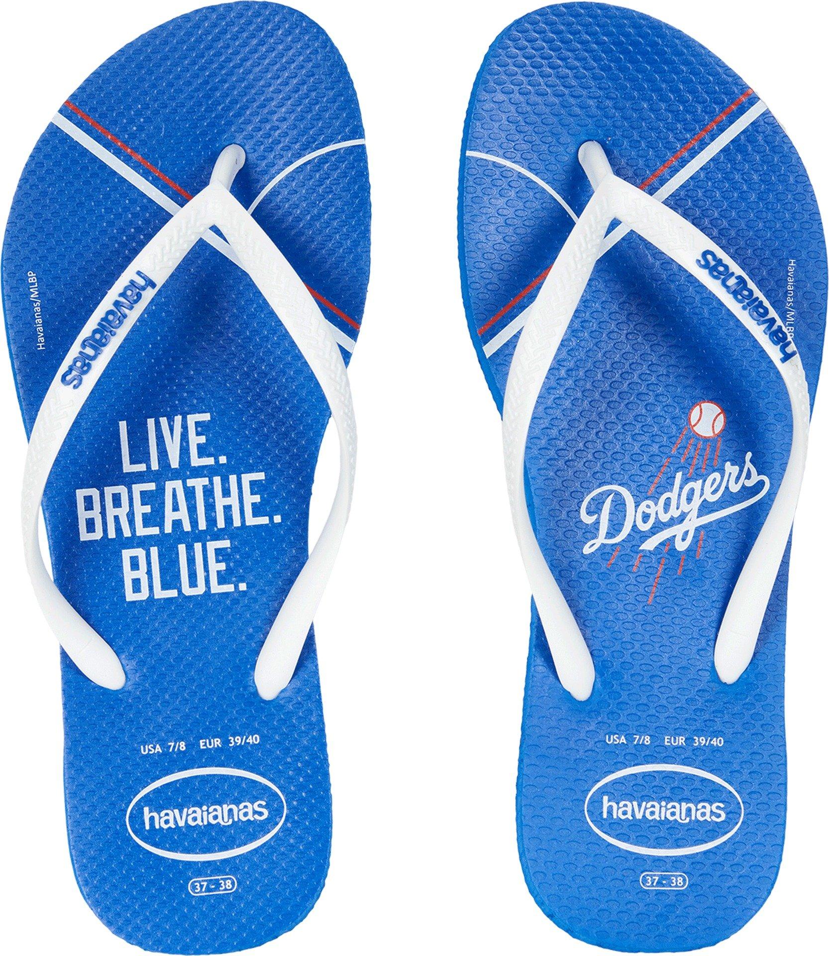 Havaianas Unisex Slim MLB Los Angeles Dodgers Sandal (39-40 M Bra, Blue Star)