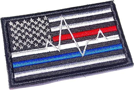 AstroG @ BP4 Parche bordado con diseño de bandera de Estados Unidos, línea azul, línea roja, bomberos EMT EMS: Amazon.es: Juguetes y juegos