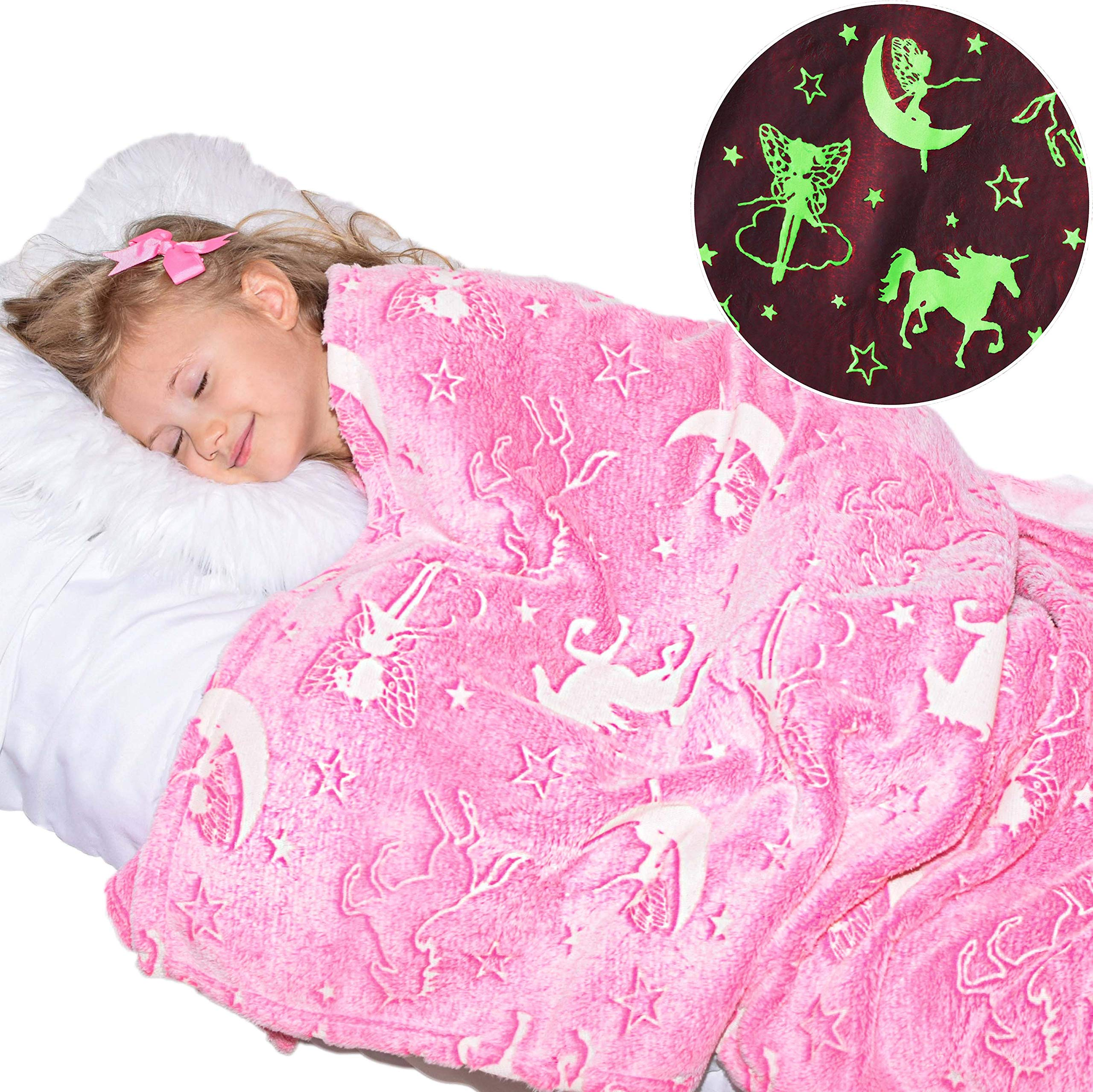 Unicorn Blanket Glow in the Dark Luminous Fairy Blanket for Kids - Soft Plush Pink Fantasy Star Blanket Throw - Large 60in x 50in Glowing Magical Blankets Gift for Girls (Pink Unicorn and Fairy) by DreamsBe