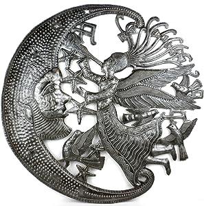 "Global Crafts 24"" Recycled Handmade Haitian Metal Wall Art Sun & Moon, Angel and Moon"