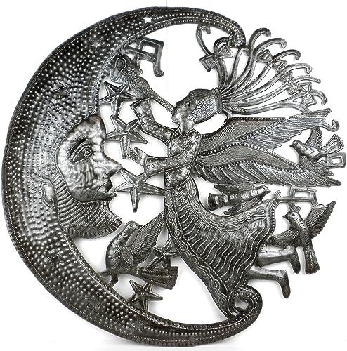 Global Crafts 24 Recycled Handmade Haitian Metal Wall Art Sun Moon, Angel and Moon