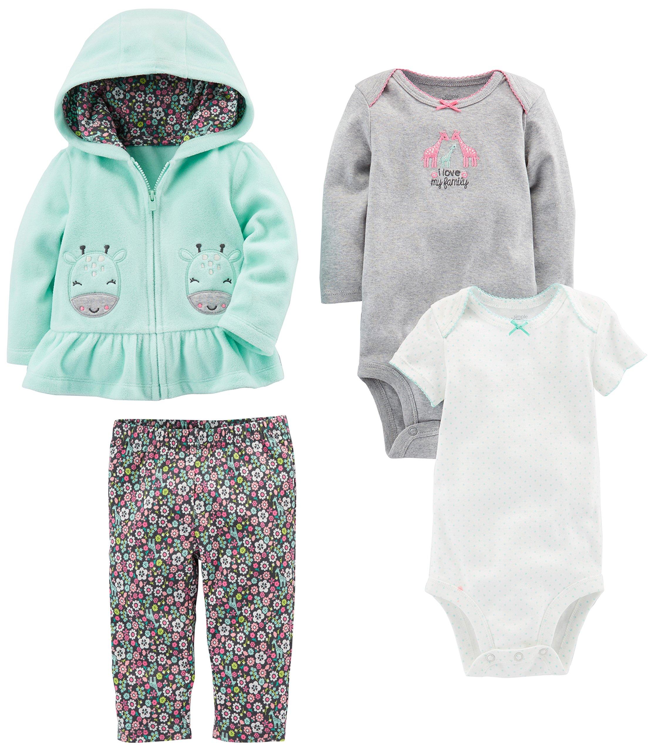 d739ee54ecff31 Simple Joys by Carter's Baby Girls' 4-Piece Fleece Jacket, Pant, and  Bodysuit Set