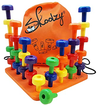 Skoolzy Peg Board Set - Montessori Toys for Toddlers and Preschool ...