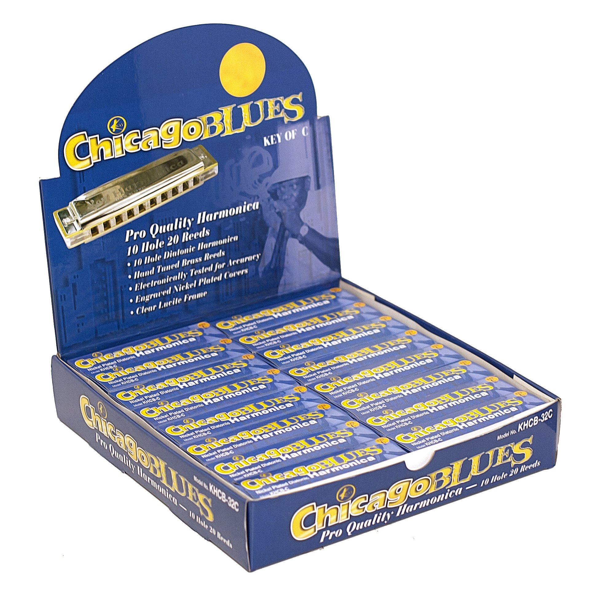 Chicago Blues KHCB32-C Harmonica Display -32 Harps in the Key of C