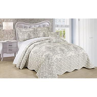 Serenta Damask 4 Piece Bedspread Set, Queen, Antique White