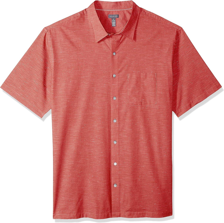 Van Heusen Men's Big and Tall Air Short Sleeve Button Down Solid Shirt